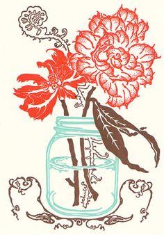 Farmhouse Flowers Letterpress Cards  box by OldSchoolStationers, $18.00
