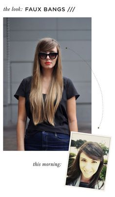Faux Bangs - make a side part, sweep hair across forehead and pin on opposite side