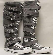 Chuck Taylor Knee High Converse | All*Star Chuck Taylor Grey Knee-High Converse w/ straps and Buckles sz ...