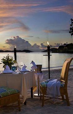 Romantic beach dining.