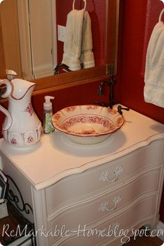 Antique Dresser With Copper Bucket Vessel Sink Ok Where Can I Find This Sink I Want It