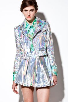 Discover this look wearing Jackets tagged far out holographics - Holographic Iridescent Hologram Leather Motorcycle Jacket by THRIFTED_and_MODERN Iridescent Clothing, Iridescent Fashion, Holographic Jacket, Holographic Fashion, Metal Fashion, Trendy Fashion, Womens Fashion, Image Mode, Burning Man