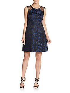 Filigree Jacquard Fit-And-Flare Dress