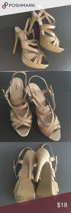 """Olseboye strappy gold glitter platform heels sz7m Only used once. In great condition. Heel height 5"""" & 1"""" platform. Perfect for your next party! Ready to ship! Olsenboye Shoes Platforms"""