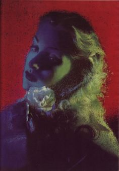 """Erwin Blumenfeld Portrait, Solarized, image scanned from a 1944 issue of Popular Photography. """"Blumenfeld, confident of his technical mastery of color, tosses overboard all normal rules and wins applause for this portrait in unnatural colors. Contrary to nature's harmony, highlights and shadows are cold; background only furnishes warmth."""""""