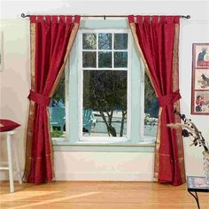 red sari curtains