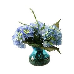 "Blue Hydrangeas and Queen Anne Lace 14""W Faux Flowers (110 BAM) ❤ liked on Polyvore featuring home, home decor, floral decor, artificial flower arrangement, artificial floral arrangement, fake flowers, fake silk flowers and silk hydrangea arrangement"