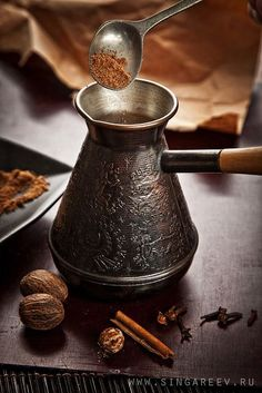 looks like what we make Turkish coffee in, but much more ordamental!looks like what we make Turkish coffee in, but much more ordamental! I Love Coffee, Coffee Art, Coffee Break, My Coffee, Coffee Drinks, Coffee Shop, Coffee Cups, Coffee Barista, Coffee Poster