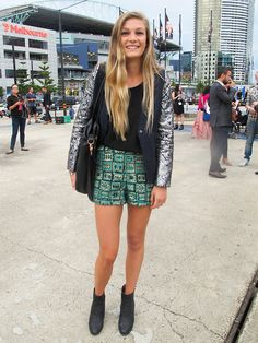One of our favourite looks from the whole week at #LMFF, this beach babe is perfectly on the money with her clashing brocade shorts suit.  WGSN street shot, L'Oréal Melbourne Fashion Festival