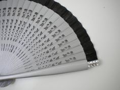 Hand Fan Hand Bag Size 19cm Silver and Black by Kate Dengra
