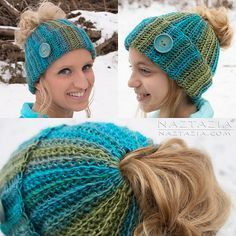 Here's a ribbed messy bun hat. The hair elastic is crocheted right into the hat as you work sideways in single crochet ribbed rows.