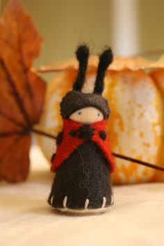 Waldorf Style Wood and Wool Felt Ladybug Gnome by benematre, $9.00