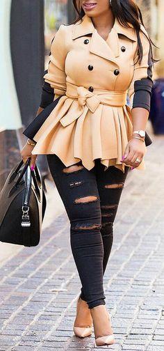 Stylish Bowtie Tied Contrast Color Coat #plussize
