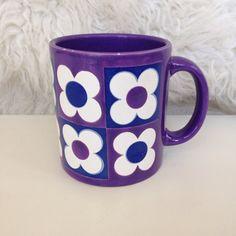 Purple mod flower power mug by snugsnuggery on Etsy, $8.00