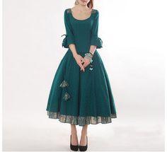 Peacock Blue  Cotton skirt women skirt fashion by happyfamilyjudy, $82.99
