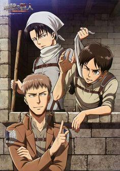 Shingeki no Kyojin (Top: Levi Bottom Left to Right: Jean, Eren)