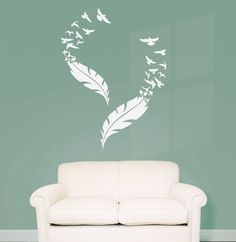 Double Feather and Flying Birds Vinyl Wall Decal (Interior & Exterior Available)  Feather Wall Decal, Large Vinyl Sticker, Bedroom Decor