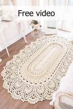 """Master class on the Rug """"LaceMayMiracle"""" Based on the design of the May Wonder rug Zinaida Sergienko carpet size ~ 36 rows crochet hook polyester cord ~ Crochet Doily Rug, Crochet Carpet, Crochet Rug Patterns, Crochet Home, Crochet Gifts, Crochet Designs, Crochet Afghans, Crochet Blankets, Crochet Stitches"""