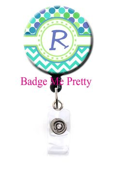 Retractable ID Badge Reel With Your Initial Cute by BadgeMePretty