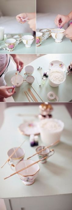 DIY candles using teacups! Unfortunately the instructions are not in English but I think I can figure it out.