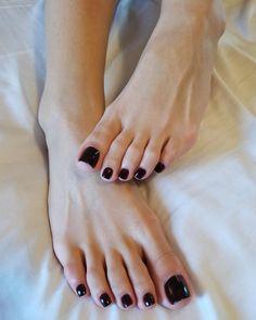 Black Cherry Nails, Black Toe Nails, Pretty Toe Nails, Cute Toe Nails, Pretty Toes, Feet Nails, Toenails, Nice Toes, Toe Polish