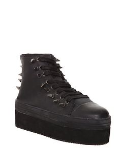 YRU Elevation Black Wax Canvas Platform Sneakers | Hot Topic