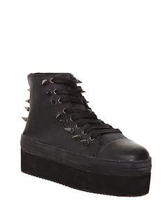 YRU Elevation Black Wax Canvas Platform Sneakers | Hot Topic