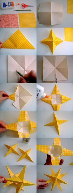 Decoración de navidad con papel doblado y enrollado - annekata.com