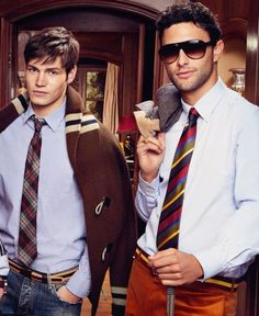 Sam Way & Noah Mills rocking the Varsity trend that's currently happening in menswear.