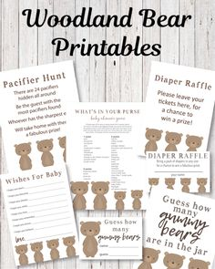 Printable Woodland Bear Baby Shower Game Pack - 5 games/activities - Print It Baby Baby Shower Candy, Teddy Bear Baby Shower, Baby Shower Party Supplies, Baby Shower Bingo, Baby Shower Activities, Baby Shower Parties, Shower Favors, Baby Showers, Free Baby Shower Printables