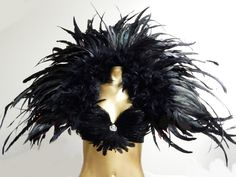 "Black Raven Grand Deco Feather Collar  all Black 47X33"" USA by sajeeladesign on Etsy"