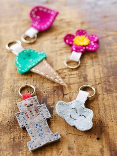 Kids can design and create these super cute felt key rings…