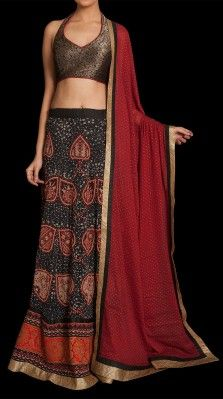 A black/ red ari & hand embroidered lehnga in viscose georgette with a matching dupatta<br /> <br />