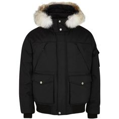 Pajar Trudeau black fur-trimmed shell jacket ($570) ❤ liked on Polyvore featuring men's fashion, men's clothing, men's outerwear, men's jackets, mens shell jackets and mens padded jacket