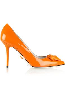 """Versace Patent-leather pumps  Rachel has said, """"Imagine the item in another colour. Do you still like it?"""" I picture orange, and oddly enough, I do like it. YinDramatic"""
