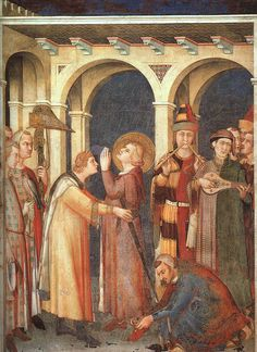 Page of St Martin is Knighted (scene by SIMONE MARTINI in the Web Gallery of Art, a searchable image collection and database of European painting, sculpture and architecture Martini, Italian Paintings, European Paintings, Italian Renaissance, Renaissance Art, Martin Von Tours, Fresco, Web Gallery Of Art, Renaissance
