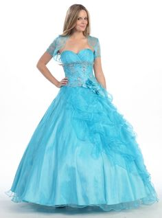 BallGown Sweetheart Organza Floor-length Blue Appliques Quinceanera Dress at sweetquinceaneradress.com