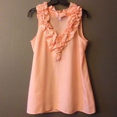 NY & Co. Peach Ruffle Top Adorable sheer peach ruffle top. Worn a handful of times, no signs of wear. 100% polyester. •Negotiable• New York & Company Tops Blouses