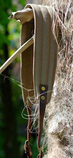 Real leather and canvas camera strap  tracolla in di PiBuShop