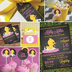 Chalkboard Rubber Duck Baby Shower Theme Girl by SunshineParties on Rubber Duck Party Set Baby Shower Duck, Rubber Ducky Baby Shower, Baby Girl Shower Themes, Girl Themes, Girl First Birthday, First Birthday Parties, Birthday Party Themes, First Birthdays, Birthday Ideas
