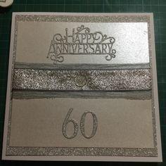 60 th anniversary card in silver white