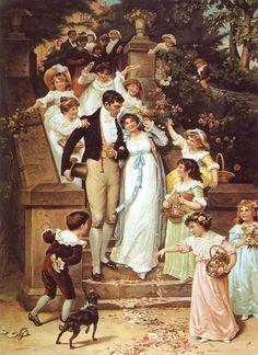 Regency Wedding (Labeled Victorian Marriage - apparently painted then, but… Regency Dress, Regency Era, Empire, 19th Century Fashion, Victorian Art, Victorian Dresses, Wedding Art, Portraits, Jane Austen