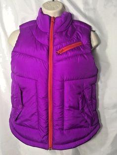 Arizona Jean Co Vest Jacket Purple Red Trim Ladies Size Small Poly Filled Zip  | eBay