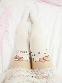Hello Kitty stockings! Cute, but I don't want anyone but my husband to see that far up my thighs!