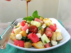 Watermelon Feta Panzanella recipe, nice way to detox after a summer vacation! From Natalie at Once Upon A Cutting Board