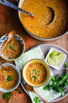 Red lentil coconut soup (Delicious, even without garbanzos. All five of us enjoyed it! 5/16)