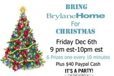 #BrylaneHomeChristmas Giveaway- #win $40 Paypal and 6 prizes at the PARTY! 12/6 US only