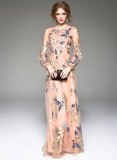Polyester Silk Floral Long Sleeve Maxi Vintage Dresses