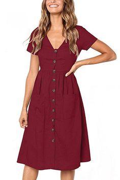 Button-Up Pocket Short Sleeve Dress - 6 Colors