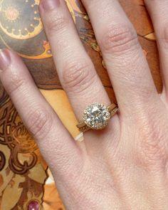 Round Moissanite and Diamond Halo Ring 14k Yellow by kateszabone